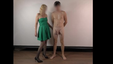 CFNM blonde handjob with green dress - 4K