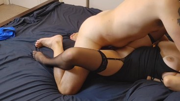 Fucking in my little black dress and getting a huge cumshot on my chest