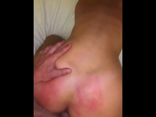 My first real porn video: Boyfriend fucking my dripping wet pussy while spanking my little ass