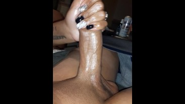 Edging oiled up big dick shoots cum-Handjob