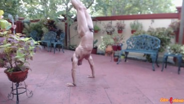 Sexy Guy Practicing Outdoor Handstand Naked