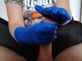 Gaming Friend got a handjob with my new blue latex gloves