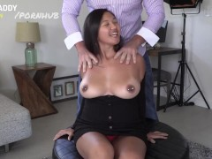 Thick Asian With Huge Bumpers Juggles All Over Daddy's Dick!