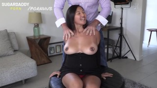 Thick Asian with huge tits bounces all over daddy's dick!