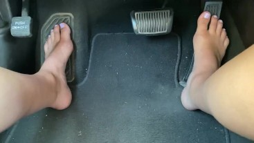 POV Driving Barefoot with Cute Feet Pedal Pumping