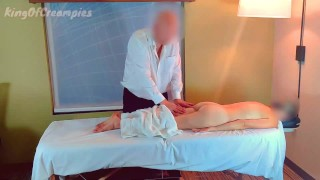 She tries to stop him - Massage turns inaapropriate as he fingers her & fucks her without a condom