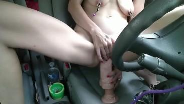 Masturbation in car with several orgasms