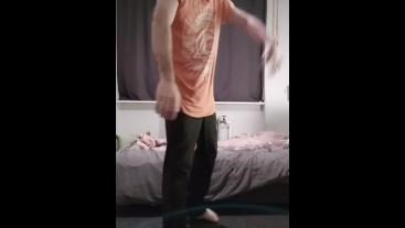 Gay boy striptease on tiktok with big dick