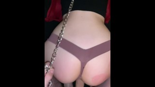 Petite blond wet pussy soaks through panties while getting fucked hard