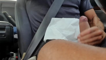 Me touching my cock while driving and spurting myself