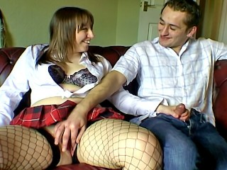 Chubby and chatty girlfriend in fishnet stockings hairy amateur sex