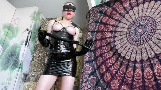 Femdom whips slaves dick and pisses on it before making him pleasure her to clit orgasm