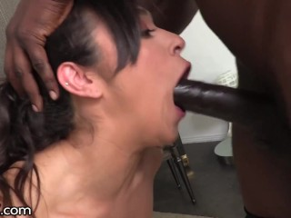 DarkX - Brooklyn Gray Deepthroats Monster Cock Before Pounded & Stretched