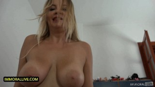 THICK MILF CANDY ALEXA GETS GIANT COCK in POV – Natural Huge Tits Hammered in Hairy Hole – Part 1
