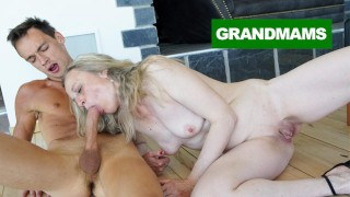 Sleazy Granny fucks Virgin cleaning son