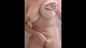 Fingering my pussy in the shower and Cumming with my vibrator