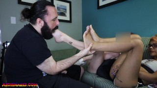 Scarlett Luna & Skater Girl Shoes no Socks Sweaty Foot Smothering with Cumshot on Feet - Preview