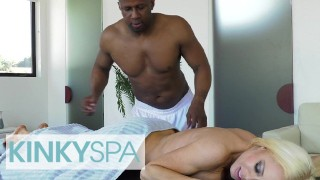 KinkySpa – Curvy Blonde Milf Nikki Delano Plowed By a Big Black Cock On a Massage Table