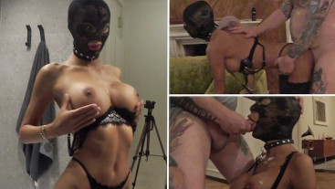 Sloppy deepthroat: Old guy puts perfect looking young babe with big boobs on a leash