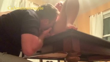 CaAmateurcouple edge all day then squirt on each other's faces after table sex