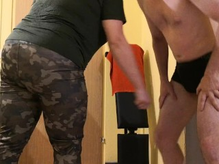 Home ballbusting at the weekend