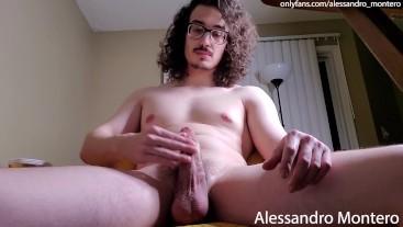 Uncut Latino with Glasses Cums Close to Camera - Alessandro Montero