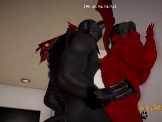 Furry Hentai 3D Yiff – Dark Wolf & Red Dragon Hard Sex