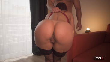 Horny Girlfriend with Perfect Ass Sucks Cock and Wants to be fucked Doggy Style - Jessi Q