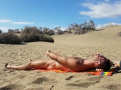 Jerking off in the dunes of Gran Canaria