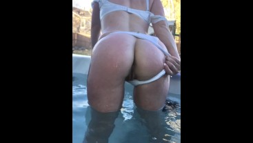 Amateur PAWG MILF in Backyard Hot Tub teaser video with still images shuffling. Showing off her Ass