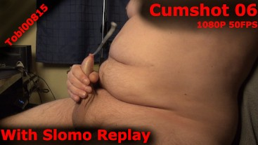 Quick creamy cumshot with slomo replay. Unshaved body, slowmotion.