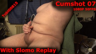 Another quick creamy cumshot with slomo replay. Phimosis slowmotion