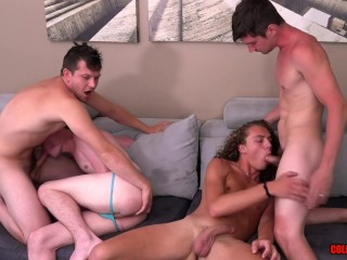 Hot 4-way with ColbyKnox and their guests Levi Hatter and Jack Valor BAREBACK