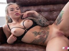 JUST GIRLS 4K  Hot blonde masturbating in black lingerie Misha Maver