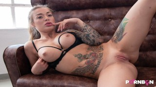 JUST GIRLS 4K | Hot blonde masturbating in black lingerie Misha Maver