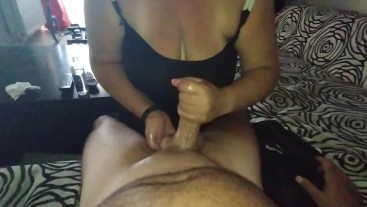 greek couple ...handjob with oil from wife until cumshot