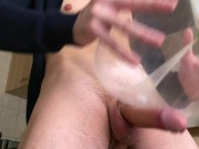 Hot Male Moaning While Cum Handsfree After Masturbating With DIY Toy