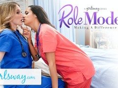 Girlsway Steamy Newcummer Nurse With Enormous Hooters Has A Humid Cootchie Formation With Her Superior