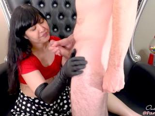 Milf/sloppy/long asian leather blow long