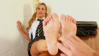 Naughty schoolgirl Jasmine gets tickled and spanked by the Headmaster