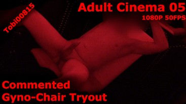 Gyno Chair masturbation in adult cinema completely shaved.