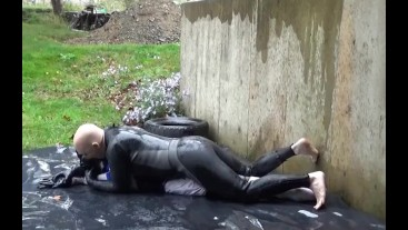 barefooted frogman fucks soccer dummy outdoors
