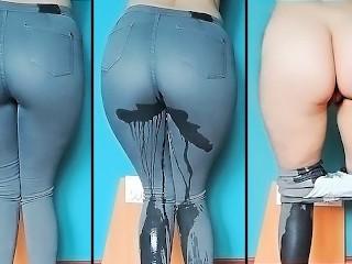 I wet my jeans. Pissing. Pee. Desperate pee. Girls pee. Golden shower  Kinky Dove
