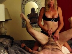 Husband gives girl cock blow job and takes a hard fast pegging!
