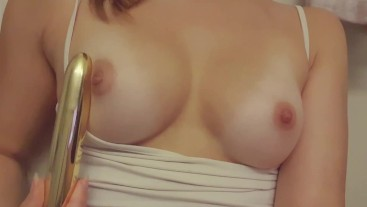 Japanese Teen Sucking Vibrator and Rubbing Tits and Tight Pink Pussy Before Pissing