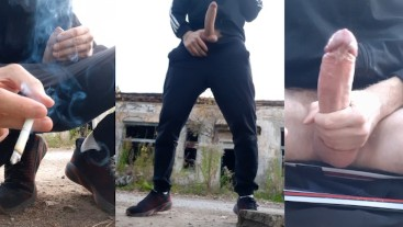 Straight guy fucks an imaginary gay guy in an abandoned house and cums on him