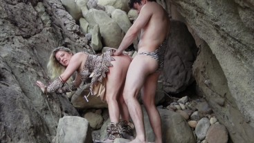Cave woman comes for sex and gets fucked in all her holes