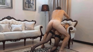 Fucked me doggystyle in all holes in the luxury hotel. I moaned He tear my throat with his huge cock