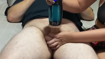 """Using the """"Zolo Thrustbuster MOANING Masturbator"""" until he CUMS on my BIG Tits"""