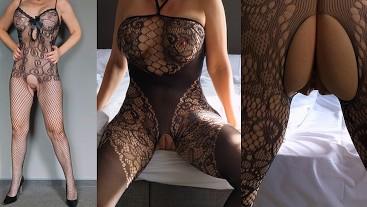 Hot Milf in sensual, crotchless bodystockings lingerie presenting her shaved pussy, tits and ass